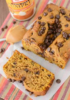 Peanut Butter Pumpkin Bread with chocolate chips. Yum!!!