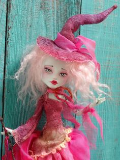 RESERVED  Pink Witch   Monster High Frankie doll by Marinart
