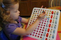 Sink mats make great weaving frames - very clever idea from Kids Activities Blog