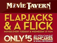 MamaCheaps.com: Movie Tavern Kid Summer Movie Program – $5 for Movie, All-You-Can-Eat Pancakes and a Drink!
