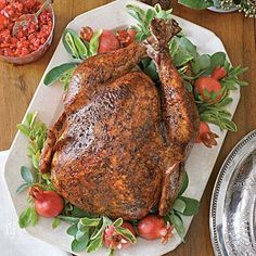 Salt-and-Pepper Roasted Turkey | With a turkey this simple and with so few ingredients, focus on the techniques that matter most. First, pat the turkey very dry, which will help it achieve a crispier skin in the oven. Then season liberally with kosher salt. | SouthernLiving.com