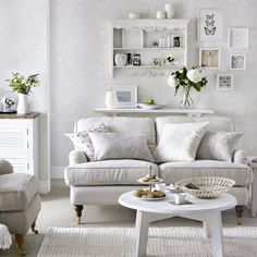 White-on-white living room