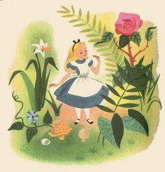 vintage disney, vintage illustrations, retro art, alice in wonderland, book, gardens, tattoo patterns, flowers, vintage art
