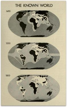 Maps of the world known by the Europeans in 1490 (just before they found America), 1550 and 1800.