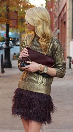 gold sweater, burgundy skirt