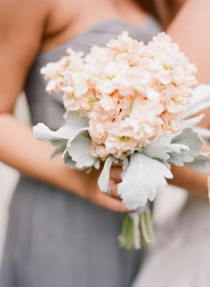 Pretty pink bouquet with a dusty miller cuff... Ali Harper