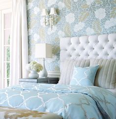 Yvette non-woven wallpaper in Light Blue with Gibraltar embroidery duvet and pillow    #headboard #tufted #bedroom #calm #blue #cowhide #bench