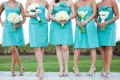 Short Mismatched Aqua Bridesmaids Gowns
