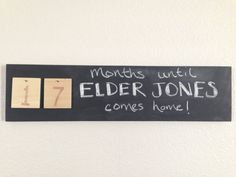 "Missionary Countdown Chalkboard Sign with 20 interchangeable wooden number ""Tiles"""