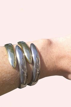 Very Cool Vintage Cuff Gold and Silver. $60.00, via Etsy.