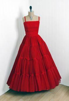 1950s red dress with straps  #retro #vintage #feminine #designer #classic #fashion #dress #highendvintage