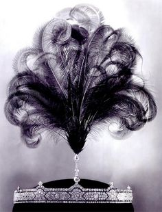 Belle Epoque aigrette tiara complete with ostrich plumes