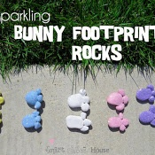 Kids Craft ~ Sparkly Bunny Foot Print Rocks