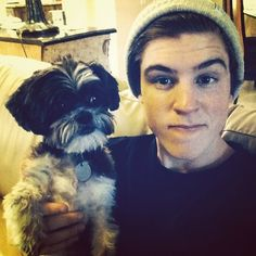 Sam Woolf and his dog!!! This picture literally made my day♡ BUDDY!