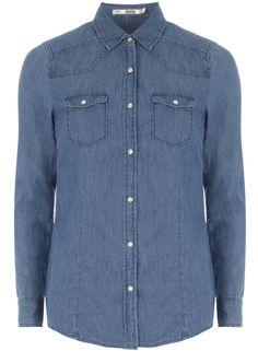 Mid-Wash Blue Denim Shirt