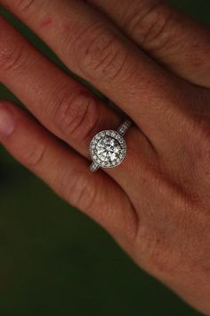 Ritani french-set round halo engagement ring in white gold