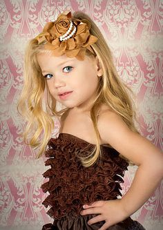 Brown Flower Headband - Elegant Brown Chiffon Rose with Pearls on Elastic Headband for Newborn Infant Toddler Girl Photo Prop. $10.50, via Etsy.