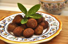 Polpette di melanzane- eggplant 'meat'balls! So good, you won't miss the meat.