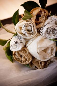 tissue and sewing pattern paper bouquet