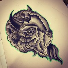 Mighty bison on pinterest bison tattoo buffalo tattoo for Traditional bison tattoo