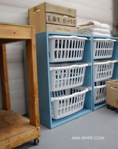 DIY laundry-basket-dresser--You can stack the outer shelving/basket holders to create one tall unit.