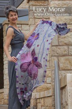 """Purple Orchids"" Nuno Felt Art Scarf by Lucy Morar"