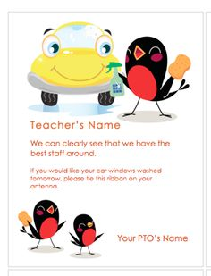 Teacher Car Wash Coupon from the PTO Today File Exchange.