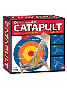Contraption: boys build towers, give them a different way to knock them down, a catapult.