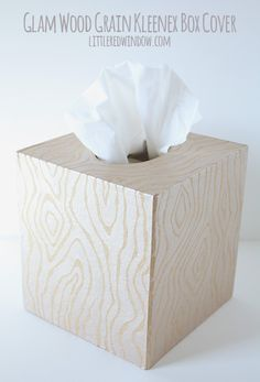 Glam Wood Grain Kleenex Box Cover - Little Red Window