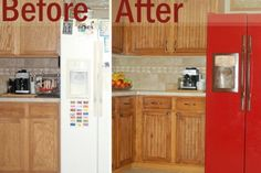 FRUGAL UPGRADE: Using paneling, stain, liquid nails, new hardware, primer, & paint for a mini kitchen facelift. I would totally do that for my kitchen!