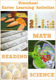 Easter Learning Activities for Preschoolers; Preschool math, reading, science and music with a bunny, carrot and egg theme.
