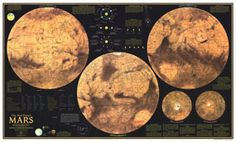 Red Planet Mars Map 1973 from Maps.com #Maps.com