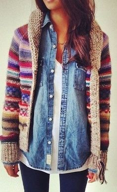 Love the layered look with denim shirt and blanket sweater
