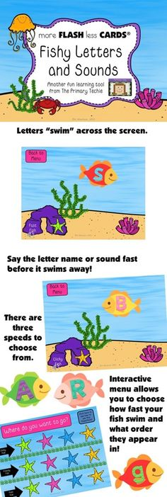 Flash Cards for today's tech savvy kids!  Say the letter or sound before it swims away.  There are three speeds to choose from and four different orders that letters appear (to keep kids on their toes!)  $ letter, kid