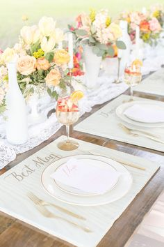 peach + mint wedding inspiration, photo by Amalie Orrange Photography http://ruffledblog.com/sangria-inspired-wedding-ideas #weddingideas #tablescape #placesetting