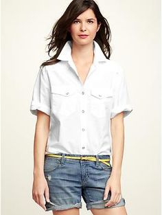 White Short Sleeve Button Down