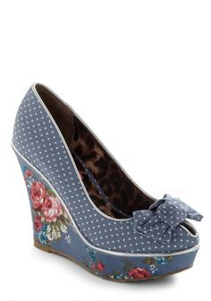 floral prints, wedge shoes, polka dots, betseyjohnson, blue, winsom wedg, wedges, betsey johnson, retro vintage