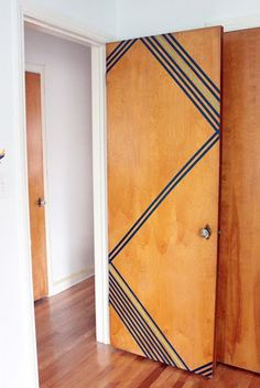Residence hall DIYs: 10 Ways to Add Personality to residence hall rooms | Apartment Therapy -- don't really need this one anymore, but what a great idea for residence halls (or rental) doors and walls! Washi tape is cheaper and easier than removable wall paper