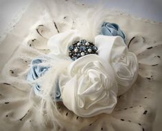 Blue Ivory Rosette Hair Clip and Brooch Pin