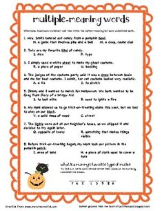 Multiple Meaning Words (Halloween)