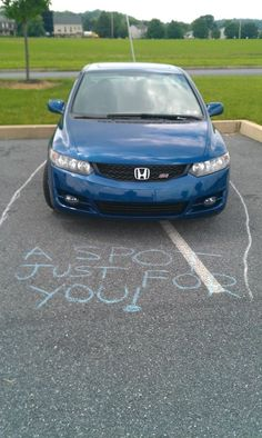 I'll just start carrying chalk around for those special people that think they deserve their own parking spaces.