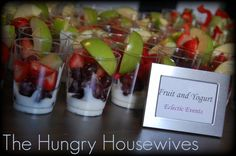 Fruit Dip / Yogurt Cups : Appetizers in cups! Anything in a cup is a great idea - it gives your guests the ability to munch and shop easily at your Origami Owl Jewelry Bar. HollyberryDesigns.origamiowl.com
