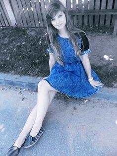 Blue Contrast Denim Skater Dress