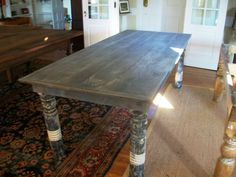 Custom Made Farm Table with antique porch post legs
