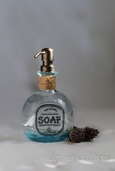 Upcycled Blue Glass Tequila Bottle Soap Dispenser
