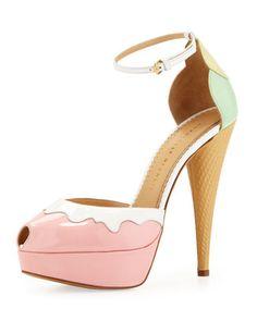 dorsay pump, pastel, charlotte olympia, charlott olympia, coneheel dorsay, cream coneheel, shoe, icecream, ice cream cones