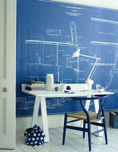 blueprint wall + chair.