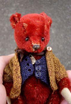 Harrison One Of a Kind Miniature Red Mohair Artist by aerlinnbears, $260.00