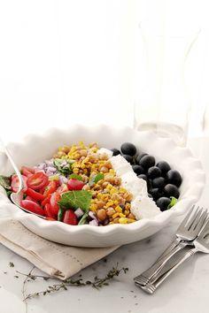 Roasted Sweet Corn Mediterranean Salad