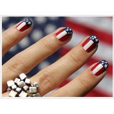 Cute <3 polka dots, nail styles, flag, fourth of july, nail arts, 4th of july, juli, patriotic nails, team usa